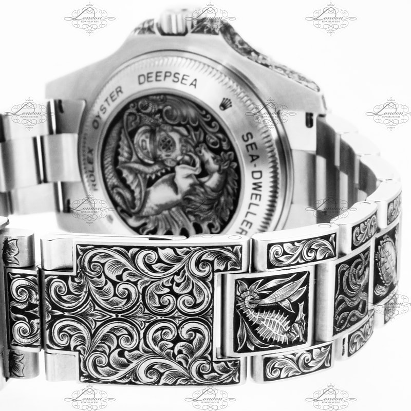 Rolex Deepsea Sea-Dweller watch, extension strap engraved with scrollwork, watchback with a nautical theme