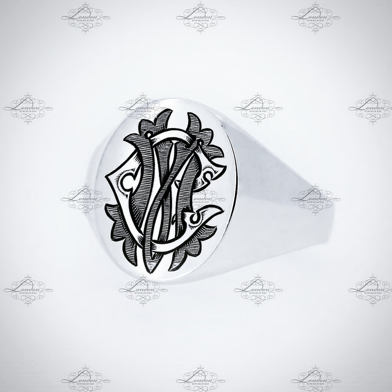 CM or MC monogram, custom designed entwined Edwardian initials on an Oxford Oval silver signet ring