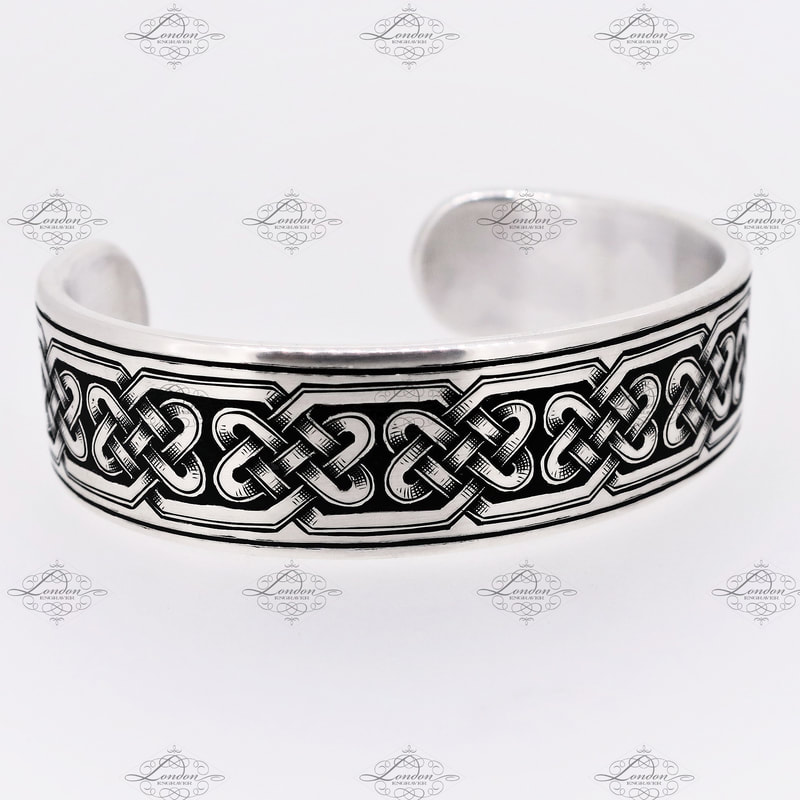 sterling silver cuff hand engraved with a Celtic patternwork