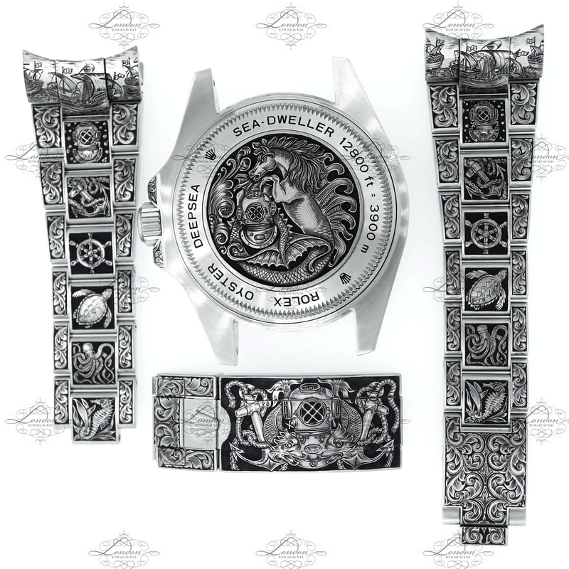 Rolex Deepsea Sea-Dweller watch, hand engraved with a nautical theme.  Straps, clasp and watchback.