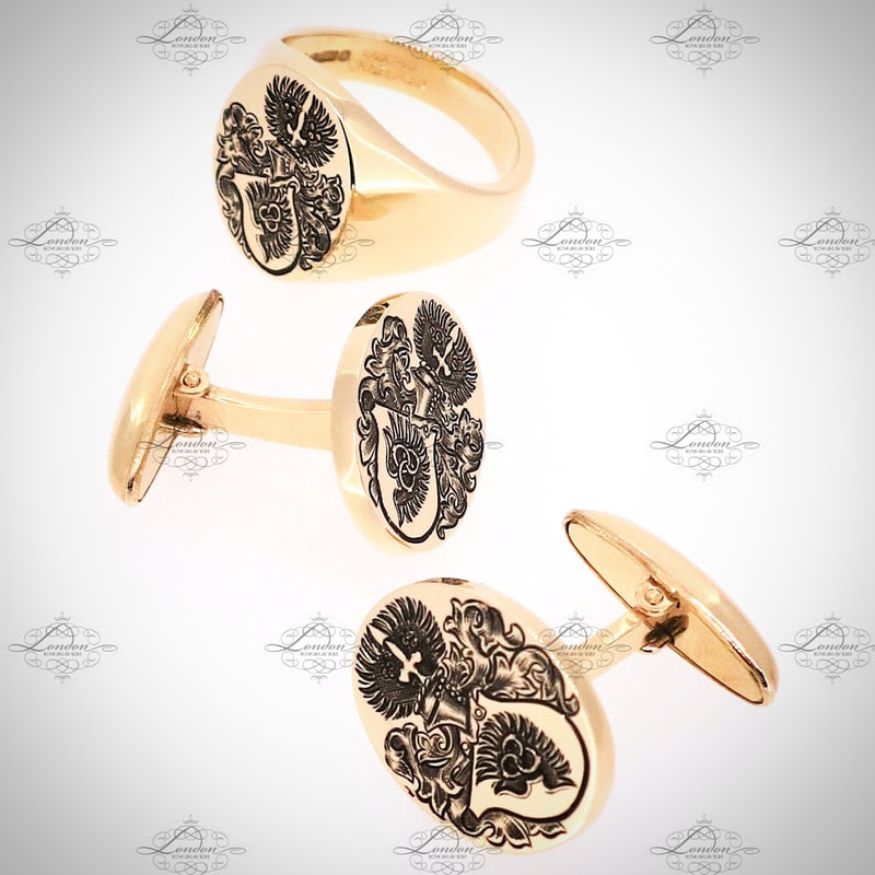 Matching yellow gold signet ring and T-Bar cufflinks, all hand engraved with a Coat of Arms, with black enamel