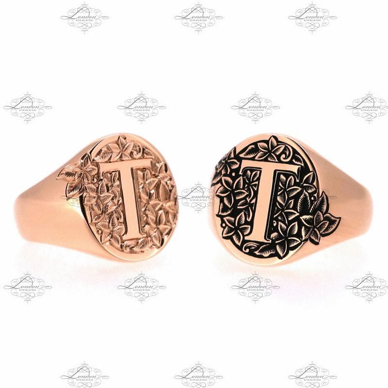 Two initial T monogram signet rings with frangipani flower background. With and without black enamel.