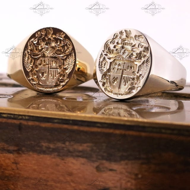 Seal engraved coast of arms, two matching oval signet rings