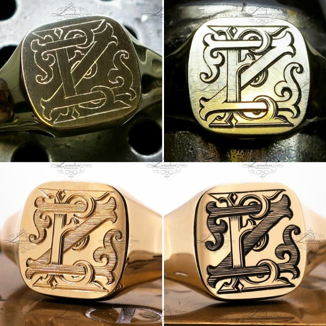 ZE or EZ custom monogram on a 9ct yellow gold cushion signet ring