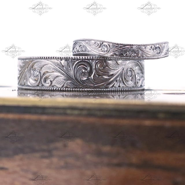 Platinum ladies and mens wedding rings, matching set with hand engraved scrollwork and milgrain