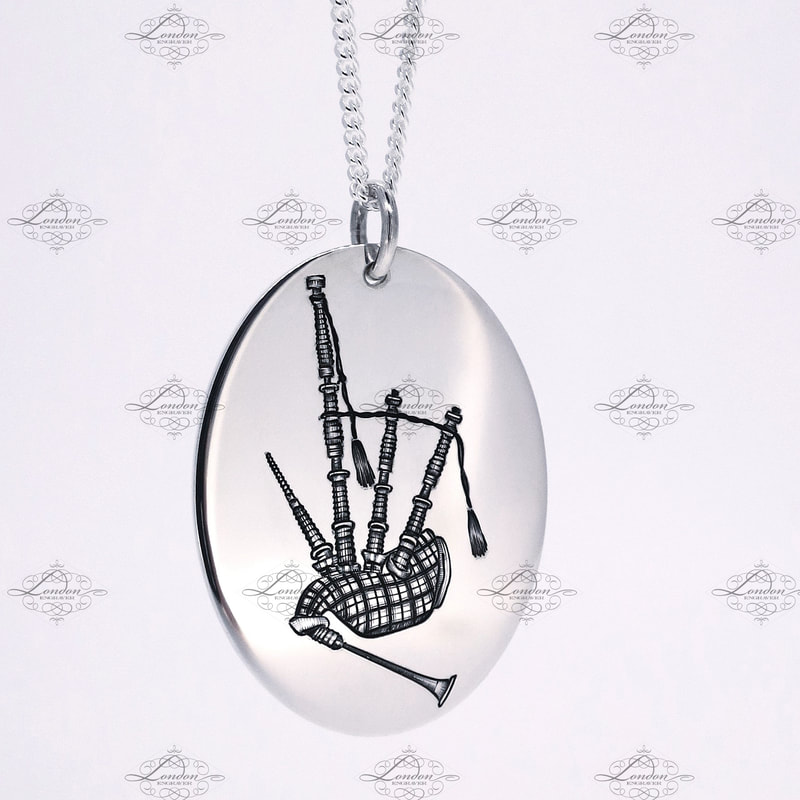Bagpipes on a handmade sterling silver pendant with necklace