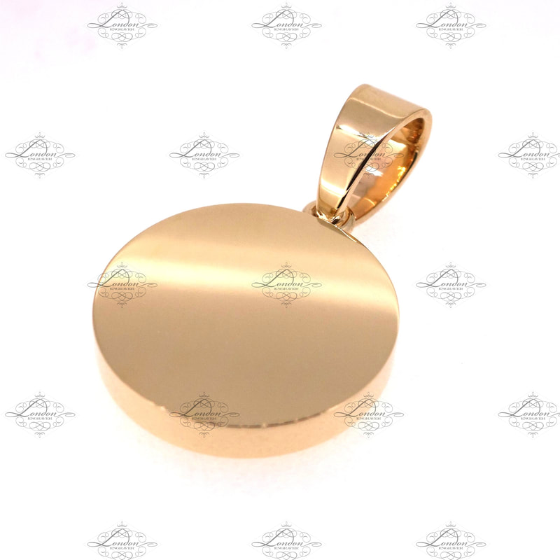 9ct yellow gold pendant, 25mm wide, 4mm thick, with bale jumpring