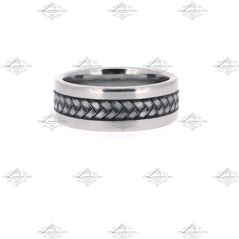 plaited rope patternwork on a white gold gents wedding band