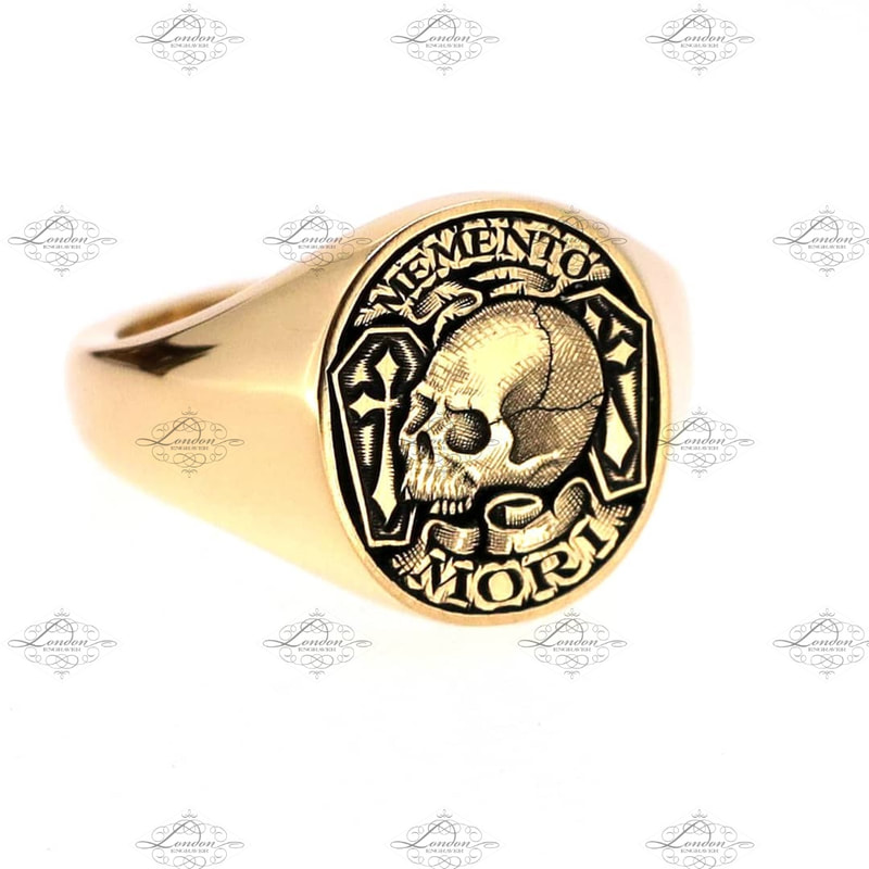 Yellow Gold Memento Mori signet ring.  12x14 Oxford Oval. Remember you will die.