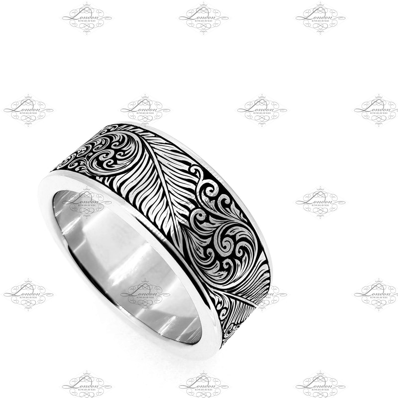 New Zealand inspired ring patternwork, NZ fern leaf and scrollwork with black enamel