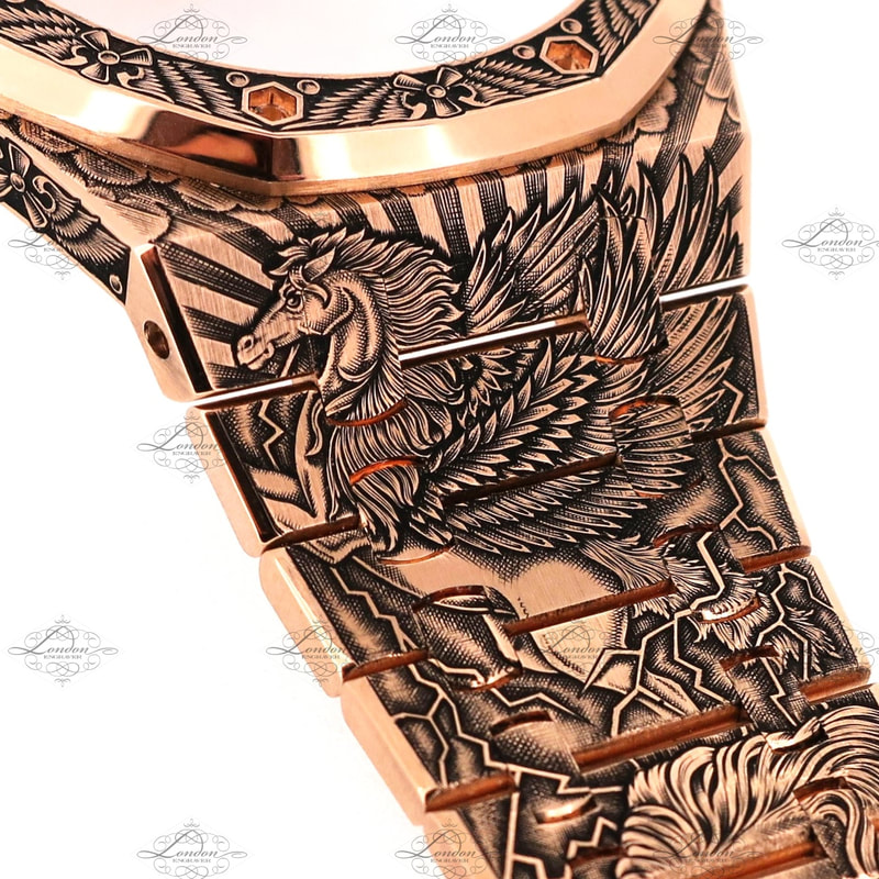 18ct rose gold Audemars Piguet watch strap hand engraved with Pegasus