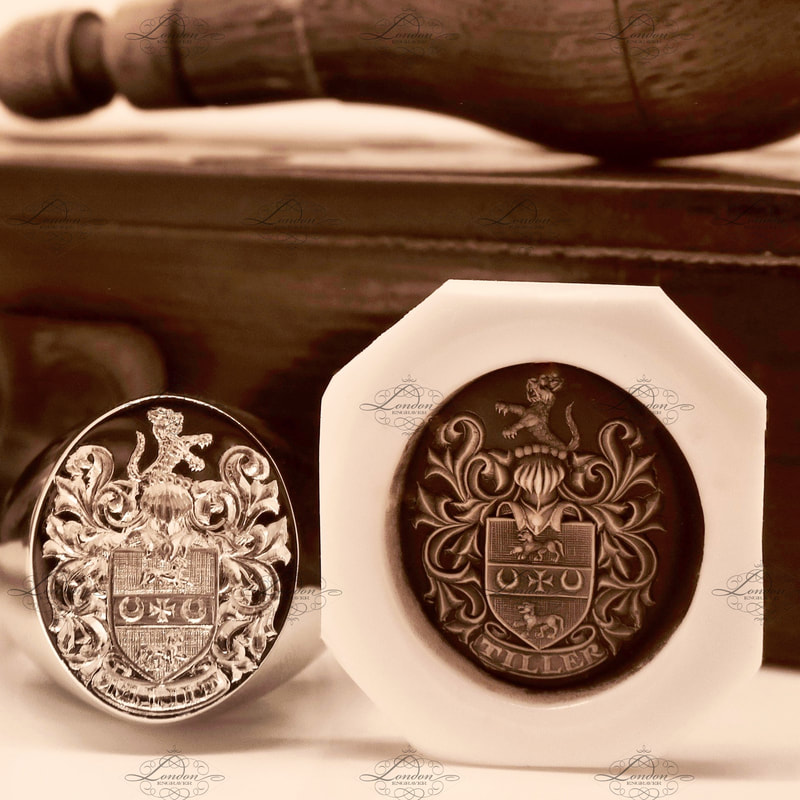An Oxford Oval signet ring with a seal engraved coat of arms, with it's wax impression next to it.  Tiller Coat of Arms.