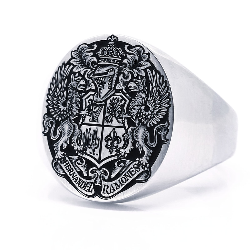 Oxford Oval platinum signet ring with a background removed Coat of Arms, with black enamel