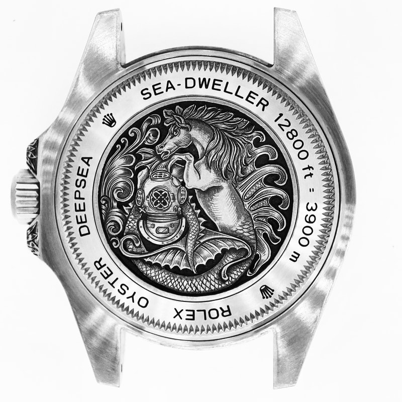 Rolex Deepsea Sea-Dweller watchback engraved with a nautical theme, sea horse mythical creature and diving helmet